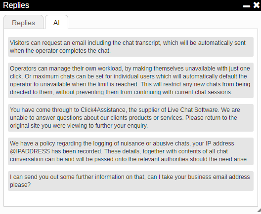 chat box for website AI Replies