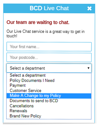 Business Choice Direct's live chat for website prechat form