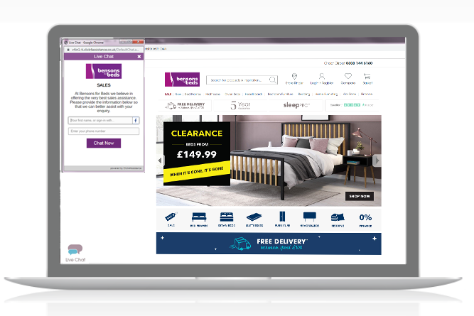 Bensons for Beds increase sales with live chat website software
