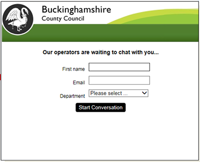 uckinghamshire County Council pre chat form integration