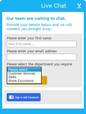 Cruise and Maritime's chat on your website prechat form