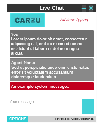 Carzu's dialogue window provided by the UK's best live chat provider