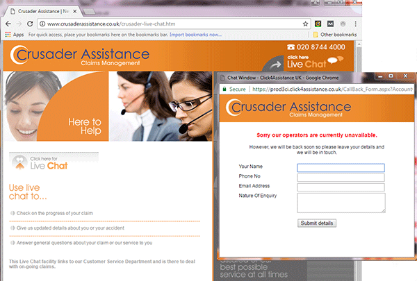 Crusader Assistance's Chat for Website Page