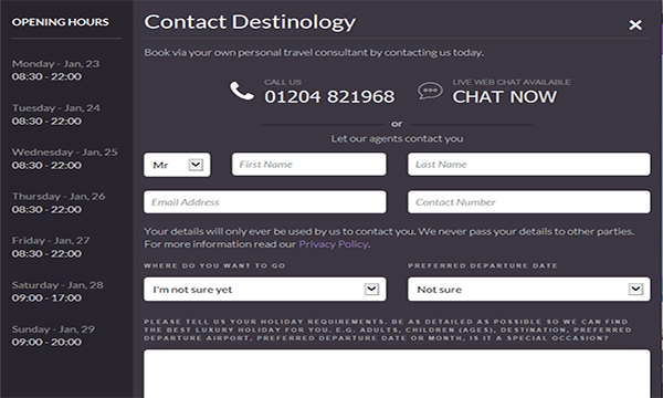 destinology chat box for website