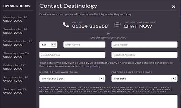 Travel Company Destinology Switch Live Chat Provider