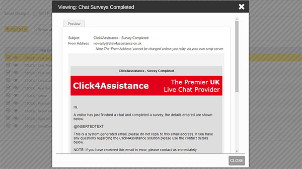 Live Chat Software Email Template