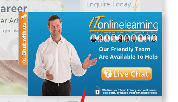 IT Online Learning's live chat on website button