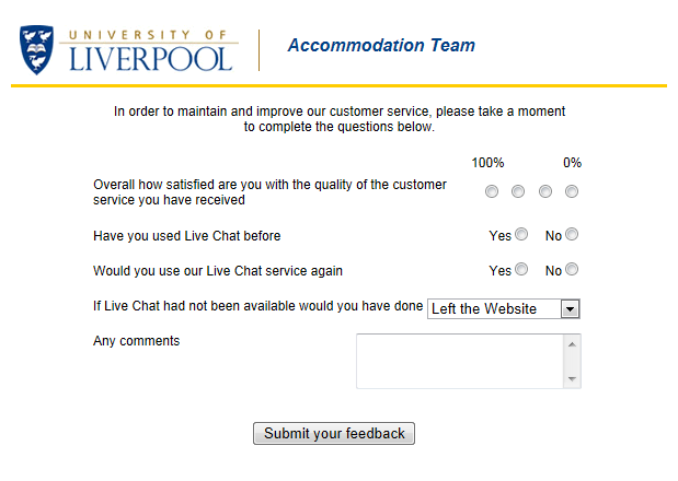 University of Liverpool, best live chat
