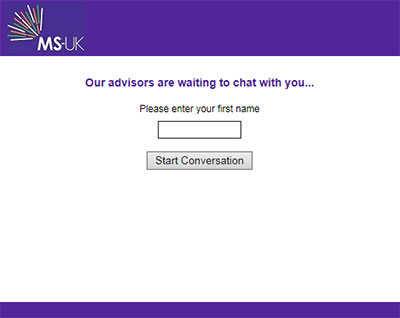 MS UK's chat on your website Prechat form