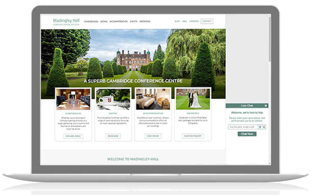 University of Cambridge adds live chat to Madingley Hall website