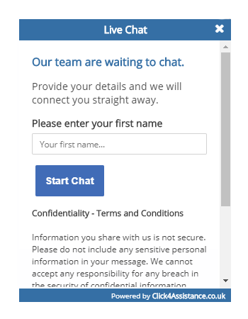 NHS Scotland's live chat on your website prechat form
