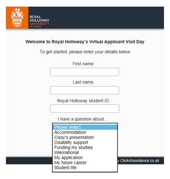 Royal Holloway's best Live chat window