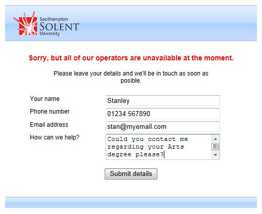 Southampton Solent University, best live chat offline form