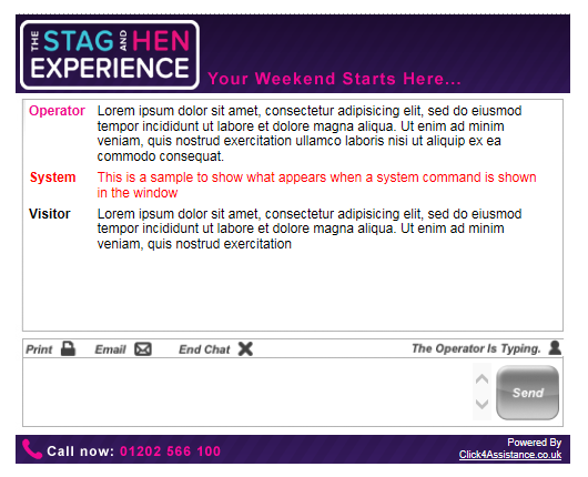 The Stag and Hen Experience's live chat for your website dialogue window
