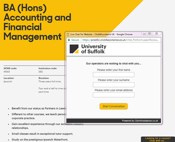 University of Suffolk's live chat for website software