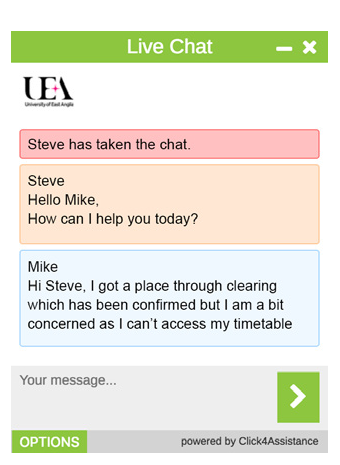 University of East Anglia's online chat software window