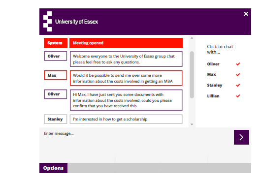 University of Essex uses live chat software and meeting rooms to support international students