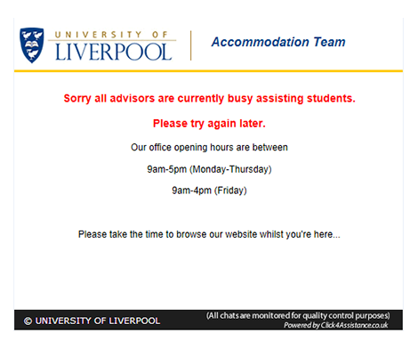 University of Liverpool show their operational hours on their offline chat integration form