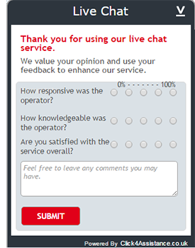 live chat on website post survey