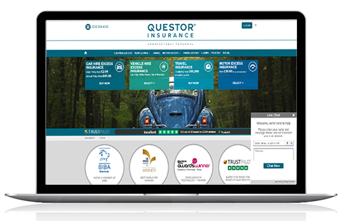 Questor Insurance uses chat for websites software to advise customers throughout their journey